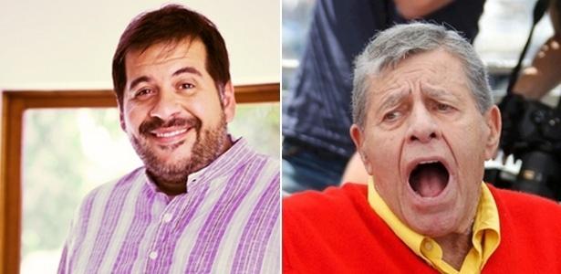 """31.jul.2013 - O ator global Leandro Hassum (esq.) vai encontrar o """"papa"""" do humor, Jerry Lewis (dir.), em set de filme brasileiro"""
