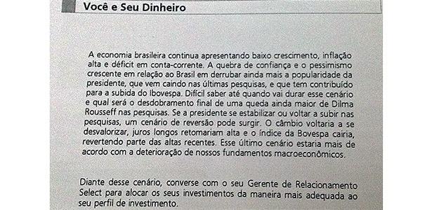 """Reprodução do extrato do Santander para clientes na categoria """"Select"""""""