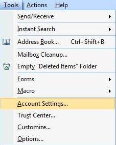 Clique em 'Tools' e selecione 'Account Settings'