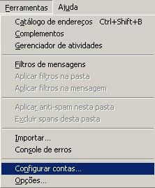 Clique em 'Ferramentas' e selecione 'Configurar contas'
