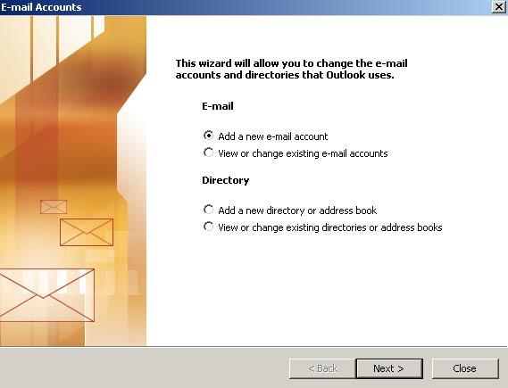 Na nova janela, selecione 'Adicionar uma nova conta de e-mail' (Add a new e-mail account) e clique em 'Avan�ar' (Next)