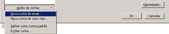 Na parte inferior da nova janela, clique em 'A��es de Contas' e selecione 'Nova conta de e-mail'