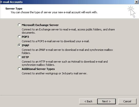 No passo 'Tipo de servidor', selecione a op��o IMAP e clique em 'Avan�ar' (Next)