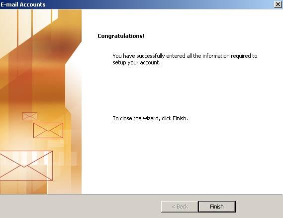 Clique em 'Concluir' (Finish) e pronto! Seu Outlook XP est� configurado para receber e enviar seus e-mails BOL via IMAP.