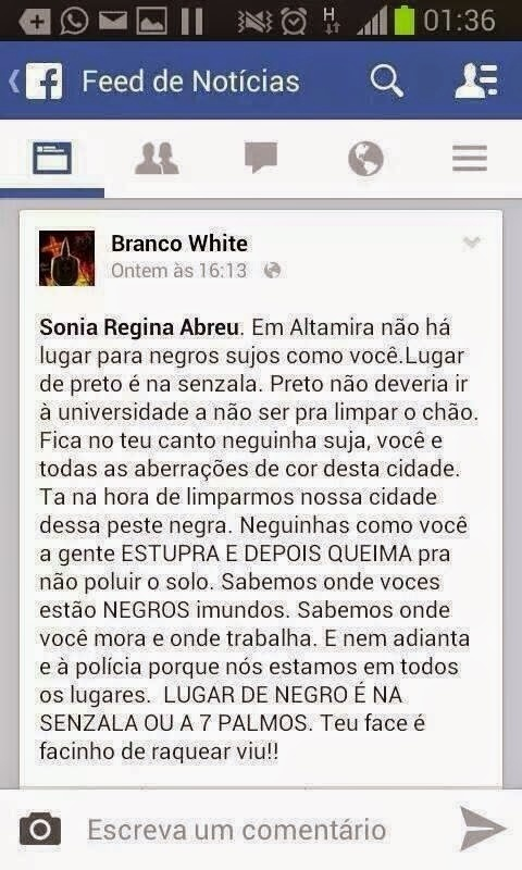 16.set.2014 - Mensagem racista enviada para a estudante Sonia Regina Abreu, do campus da Universidade Federal do Pará de Altamira