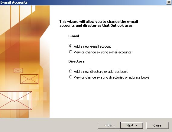 Na nova janela, selecione 'Adicionar uma nova conta de e-mail' (Add a new e-mail account) e clique em 'Avançar' (Next)