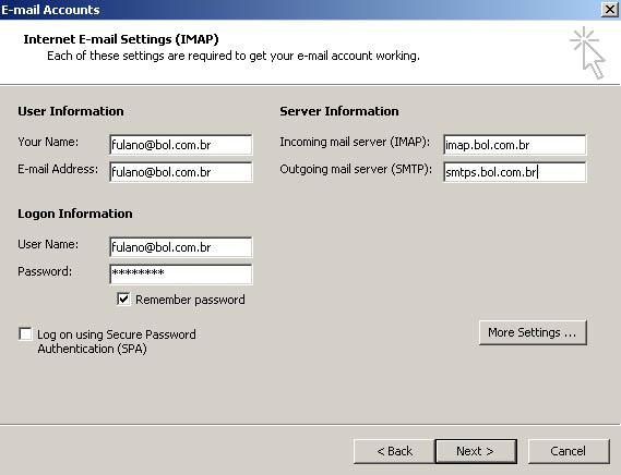 Preencha as informações do servidor de entrada e de saída