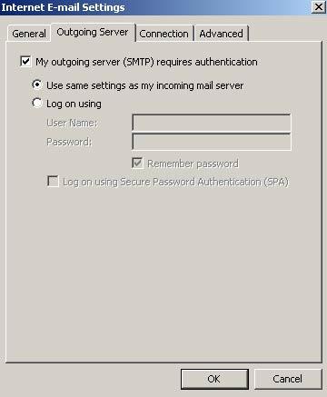 Na nova janela, clique na aba 'Servidor de Saída' (Outgoing Server) e selecione a opção 'Meu servidor de saída (SMTP) requer autenticação'